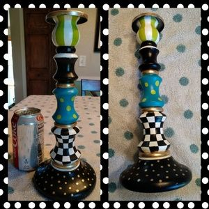 Upcycled candle stick dots checks hand painted